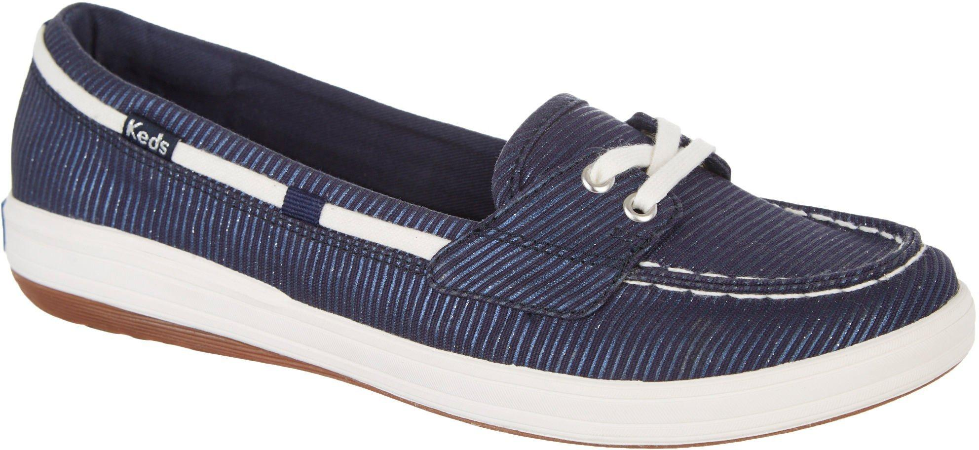 Deals on Keds Womens Glimmer Stripe Canvas Boat Shoes