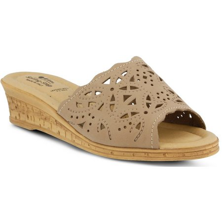 Spring Step Womens Estella Slide Wedge Sandals