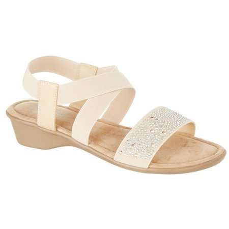 Coral Bay Womens Mae Rhinestone Sandals