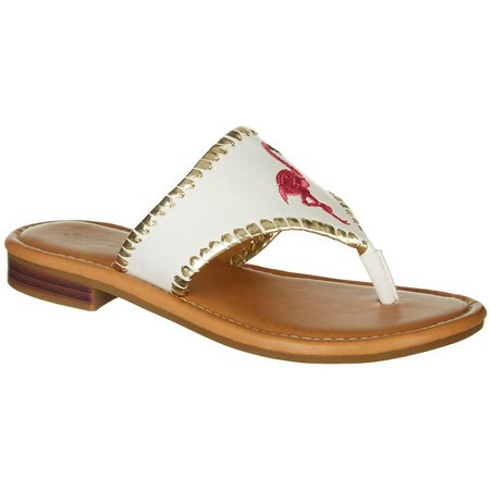 Paradise Shores Womens Kelly Flamingo Thong Sandals