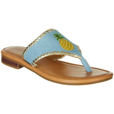 Paradise Shores Womens Kelly Pineapple Flip Flops