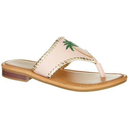 Paradise Shores Womens Kelly Palm Tree Thong Sandals