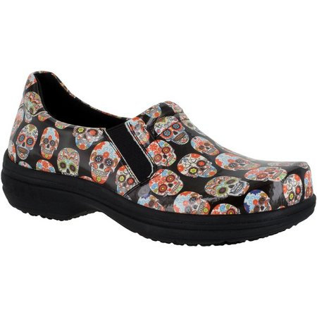 Easy Street Works Womens Bind Skull Slip On