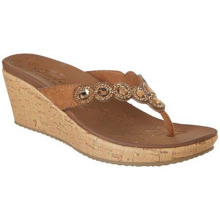 Skechers Womens Beverlee Bizzy Babe Wedge Thong Sandals