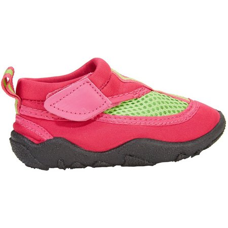 Capelli Toddler Girls Pink & Green Water Shoes