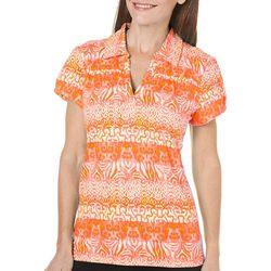 Caribbean Joe Womens Tropical Beauty Polo Shirt