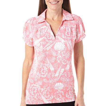 New! Caribbean Joe Womens Shell Garden Polo Shirt