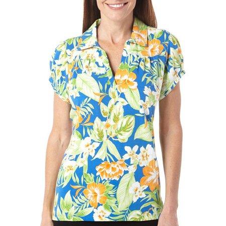 New! Caribbean Joe Womens Jungle Floral Polo Shirt