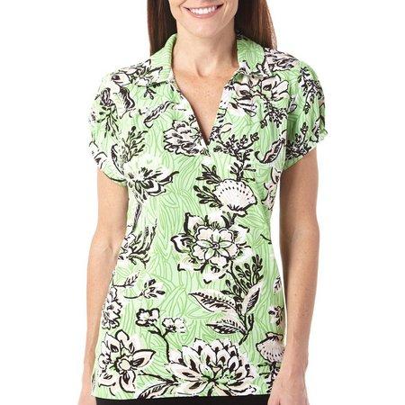 New! Caribbean Joe Womens Grass Court Polo Shirt