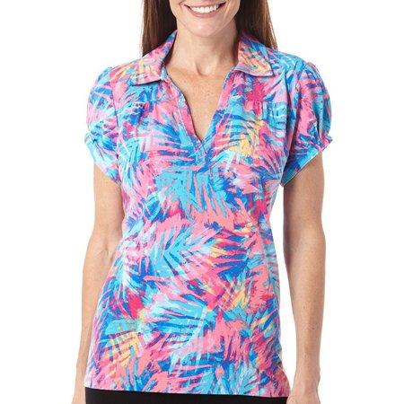 Caribbean Joe Womens Palm Splash Polo Shirt