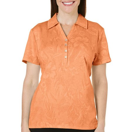 Caribbean Joe Womens Floral Textured Polo Shirt