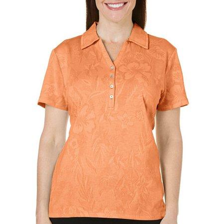 Caribbean Joe Womens Floral Textured Polo Shirt