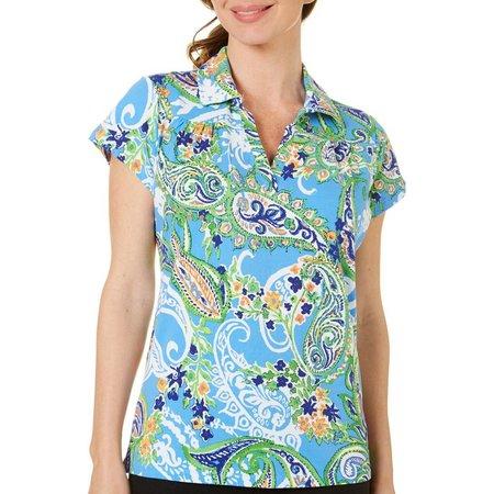 Caribbean Joe Womens Blue Paisley Print Shirt