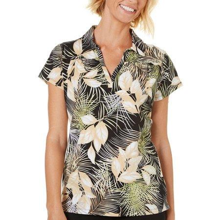 Caribbean Joe Womens Floral Leaf Print Polo Shirt