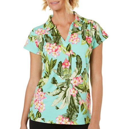Caribbean Joe Womens Luna Printed Polo Shirt