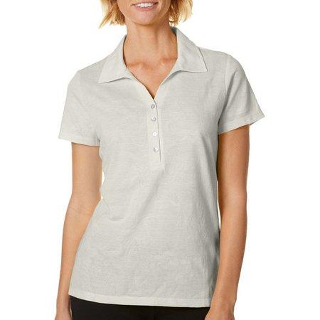 Caribbean Joe Womens Solid Jacquard Polo Shirt