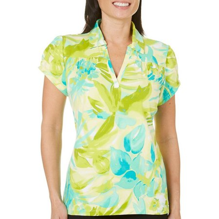 Caribbean Joe Womens Eclipse Floral Polo Shirt