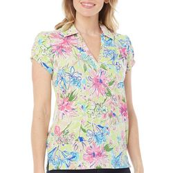 New! Caribbean Joe Womens Caribbean Dream Polo Top