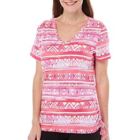 Caribbean Joe Womens Side Rouched Aztec Stripe Top