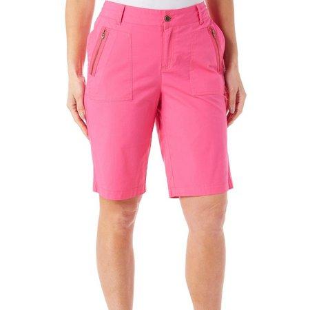 Caribbean Joe Womens Zip Pocket Skimmer Shorts