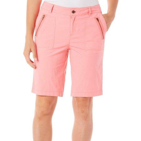 Caribbean Joe Womens Zipper Pocket Shorts