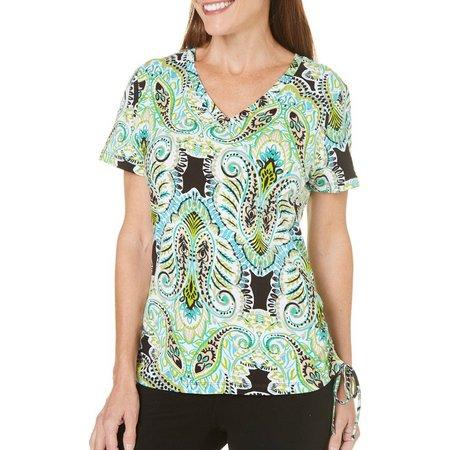 Caribbean Joe Womens Splash Paisley Shirt