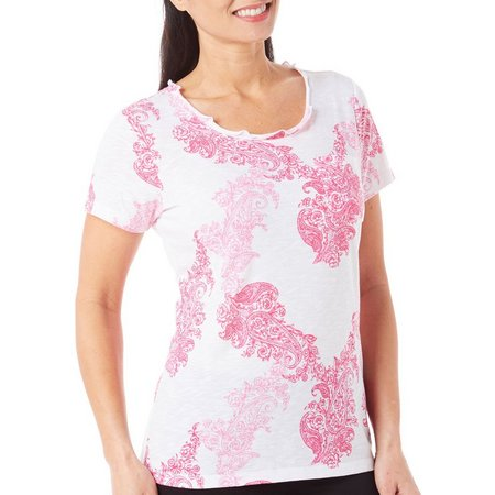 Caribbean Joe Womens Paisley Shadow Jersey Top