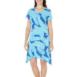New! Caribbean Joe Womens Fern Print Sharkbite Dress