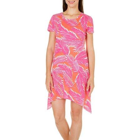 Caribbean Joe Womens Sharkbite Leaf Print Dress