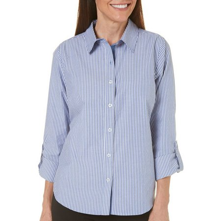 Caribbean Joe Womens Roll Sleeve Chambrey Shirt