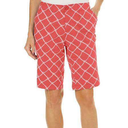 Caribbean Joe Womens Lattice Print Bermuda Shorts
