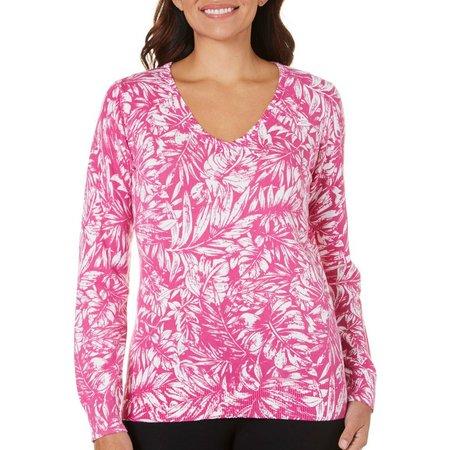 Caribbean Joe Womens Rain Forest Printed Sweater