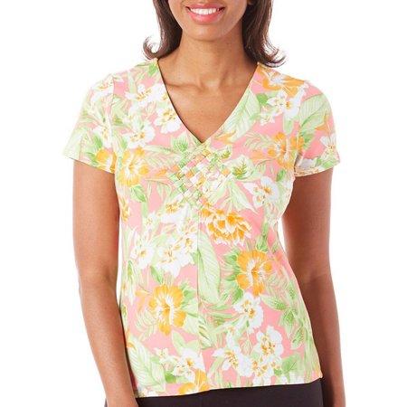 Caribbean Joe Womens Jungle Floral Weave Top