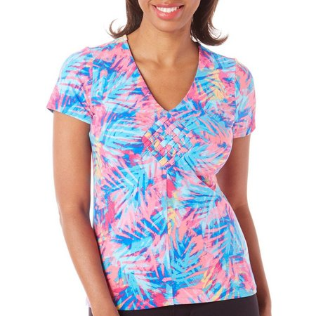 New! Caribbean Joe Womens Palm Splash Weave Top