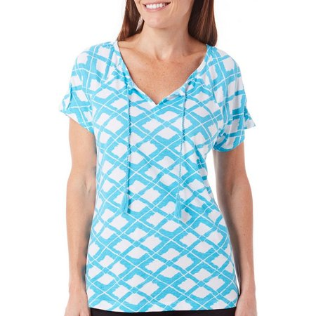 New! Caribbean Joe Womens Tassel Ties Short Sleeve