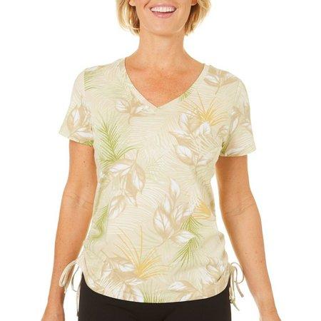 Caribbean Joe Womens Tropical Leaf Print Top