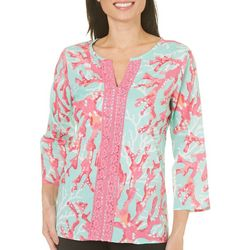 Caribbean Joe Womens Tropical Coral Tunic Top