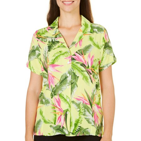 Caribbean Joe Womens Bird of Paradise Camp Shirt