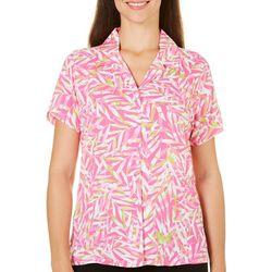 Caribbean Joe Womens Leaf Print Camp Shirt