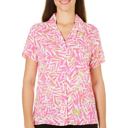 Caribbean Joe Womens Leaf Print Camp Shirt