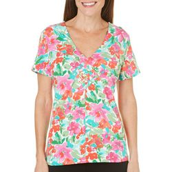 Caribbean Joe Womens Isabel's Garden Weave Top