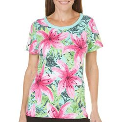 New! Caribbean Joe Womens Crochet Neck Floral Top