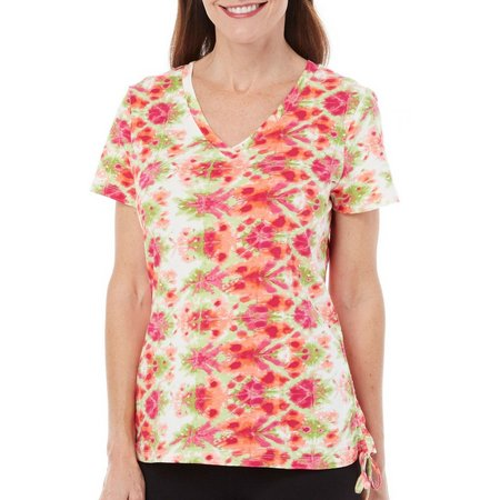 Caribbean Joe Womens Side Rouched Tie Dye Top