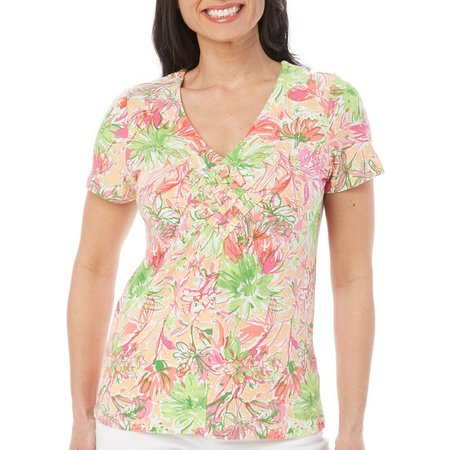Caribbean Joe Womens Garden Floral V- Neck Top