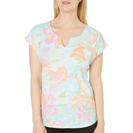 Caribbean Joe Womens Floral Print Split Neck Top