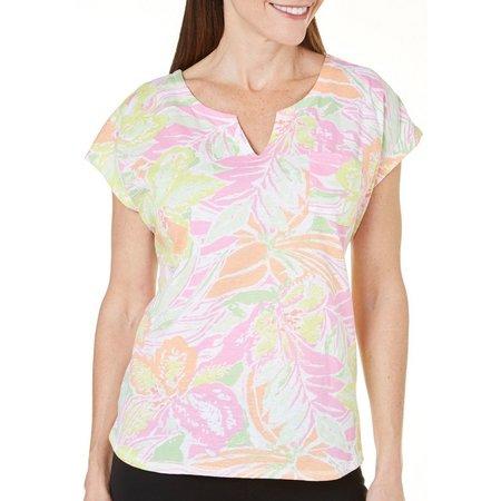 Caribbean Joe Womens Jungle Print Short Sleeve Top