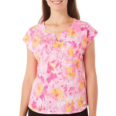 Caribbean Joe Womens Floral Whisper Print Top