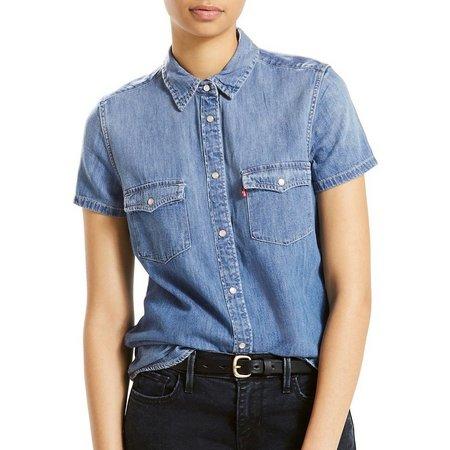 Levi's Womens Larissa Denim Short Sleeve Top