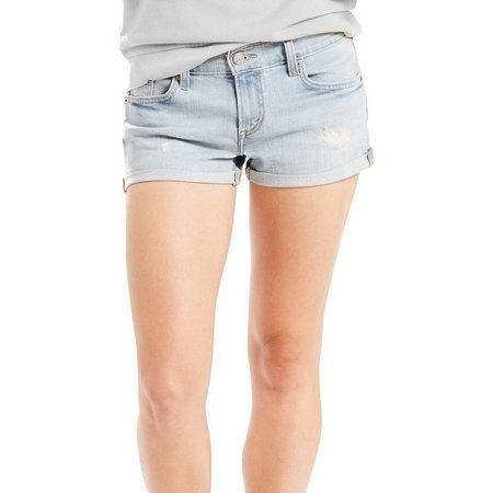 New! Levi's Womens Denim Destructed Mid Length Short