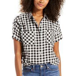 New! Levi's Womens Short Sleeve Checkered Holly Shirt